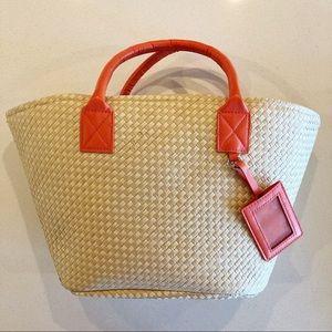 Handbags - New wicker tote with orange handles